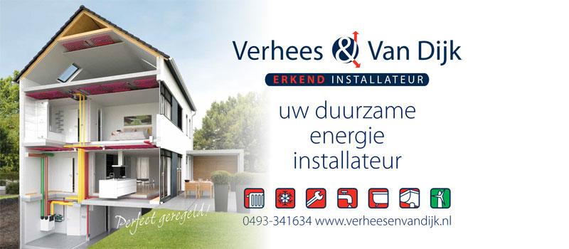 Verhees en van Dijk, uw ervaren, erkende installateur voor duurzame energie (bijv. warmtepompen), verwarming en loodgieterswerk.