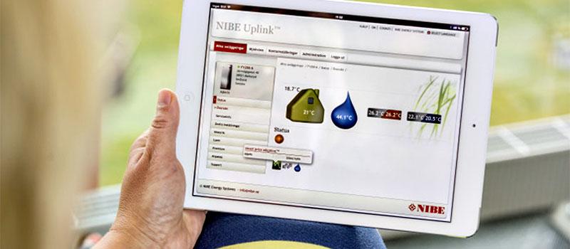 Geïntegreerde communicatiemodule voor beheer op afstand met de Nibe Uplink.