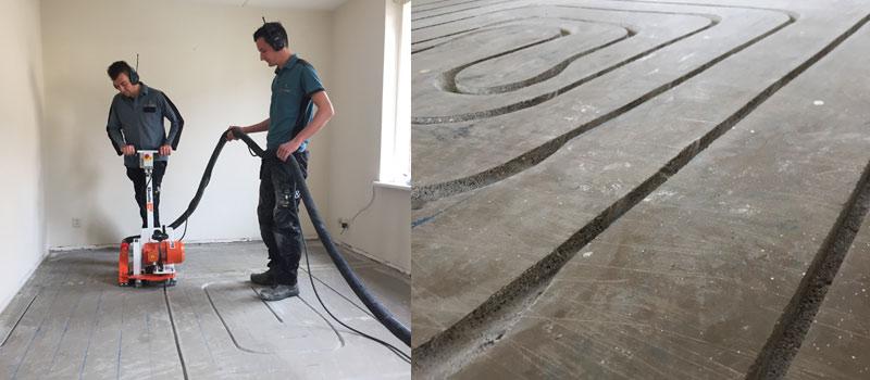 Vloerverwarming aanleggen in een bestaande woning d.m.v. frezen.