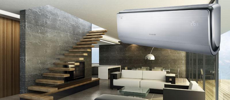 Airconditioning (koelen en eventueel verwarmen) voor een aangenaam binnenklimaat in uw huis of bedrijf .