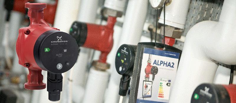 Grundfos Alpha2 pomp, de energiezuinige verwarmingspomp met een terugverdientijd van minder dan 3 jaar.